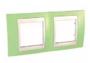 Рамка 2 поста зел. яблoко / слоновая кость горизонтальная MGU6.004.563