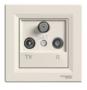 Розетка TV/R/SAT проходная слоновая кость EPH3500223