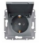 Механизм розетки (2К+З) 16A с крышкой сталь EPH3100162