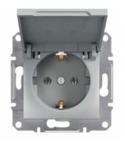 Механизм розетки (2К+З) 16A с крышкой алюминий EPH3100161
