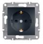 Механизм розетки (2К+З) 16A со шторками антрацит EPH2900271
