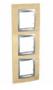 Рамка 3 поста бук/алюминий вертикальная MGU66.006V.0M1