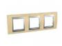 Рамка 3 поста бук/алюминий горизонтальная MGU66.006.0M1