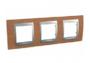 Рамка 3 поста черешня/алюминий горизонтальная MGU66.006.0M2