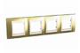 Рамка 4 поста золото/слоновая кость горизонтальная MGU66.008.504