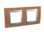 Рамка 2 поста черешня/алюминий горизонтальная MGU66.004.0M2
