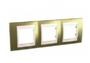 Рамка 3 поста золото/слоновая кость горизонтальная MGU66.006.504