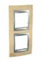 Рамка 2 поста бук/алюминий вертикальная MGU66.004V.0M1