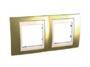 Рамка 2 поста золото/слоновая кость горизонтальная MGU66.004.504