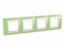 Рамка 4 поста зел. яблоко / слоновая костьос горизонтальная MGU6.008.563
