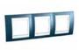 Рамка 3 поста голубой лёд / белый горизонтальная MGU6.006.854