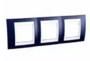 Рамка 3 поста индиго / белый горизонтальная MGU6.006.842