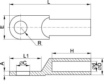 Габаритні розміри мідно-алюмінієвих наконечників ІЕК
